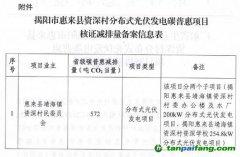 广东省生态环境厅关于同意揭阳市惠来县资深村分布式光伏发电碳普惠项目减排量备案的函
